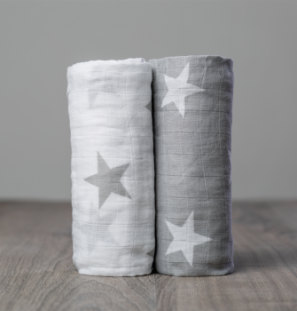 Lulujo Grey Stars Cotton Swaddle