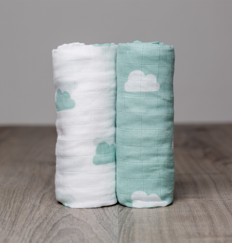 Lulujo Aqua Clouds Cotton Swaddle