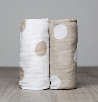 Lulujo Beige Dots Cotton Swaddle