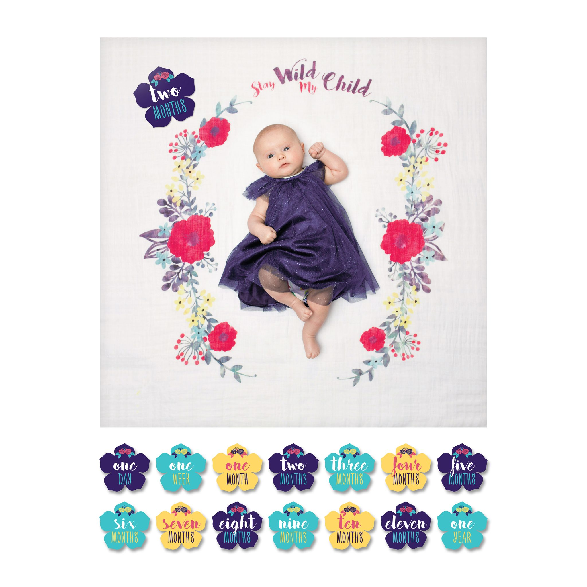 mary meyer lulujo milestone baby's first year blanket and cards set