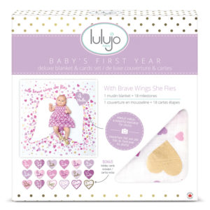 "LJ584 Lulujo ""With Brave Wings"" Baby's First Year Deluxe Blanket & Cards Set"