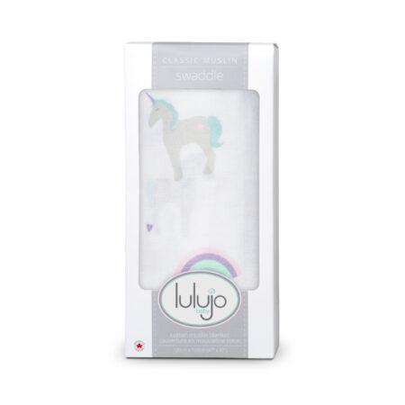 LJ405 Lulujo Rainbows & Unicorns Cotton Swaddle