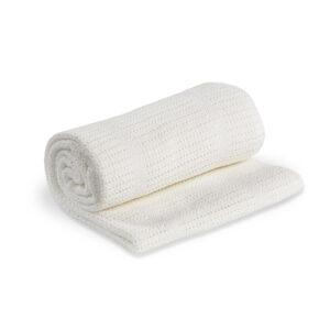 LJ750 Lulujo White Cellular Blanket