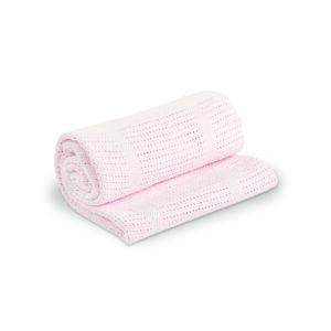 LJ751 Lulujo Pink Cellular Blanket