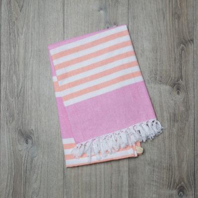 "Lulujo-Pink & Apricot Turkish Towel - 40x60"""