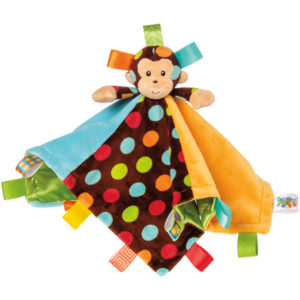 "Taggies Dazzle Dots Monkey Character Blanket - 13.5"" x 13.5"""