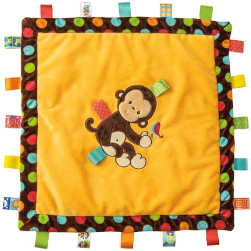 """Taggies Dazzle Dots Monkey Cozy Blanket - 16"""" x 16"""""""