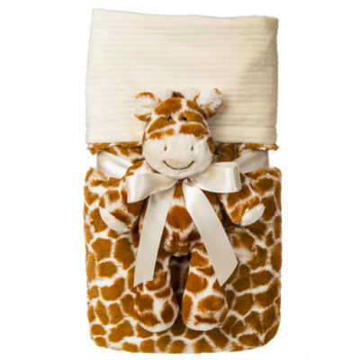 Marshmallow Giraffe Cuddle Blanket Set - 28x40""