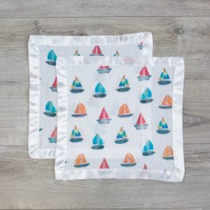 LJ061 Lulujo Sailboat Cotton Security Blankets – 16×16″