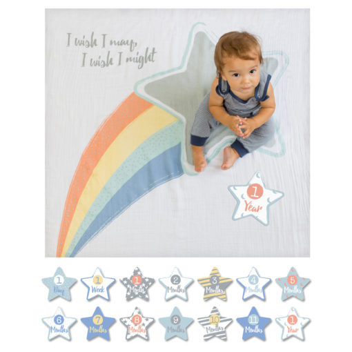 "LJ583 Lulujo ""I Wish I May"" Baby's First Year Deluxe Blanket & Cards Set"