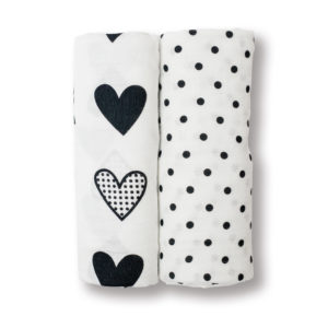 LJ131 Dots & Hearts Cotton Muslin Swaddling Blankets