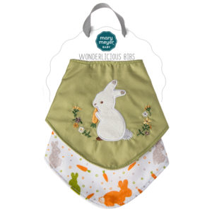 41704 Oatmeal Bunny Wonderlicious Bib Set