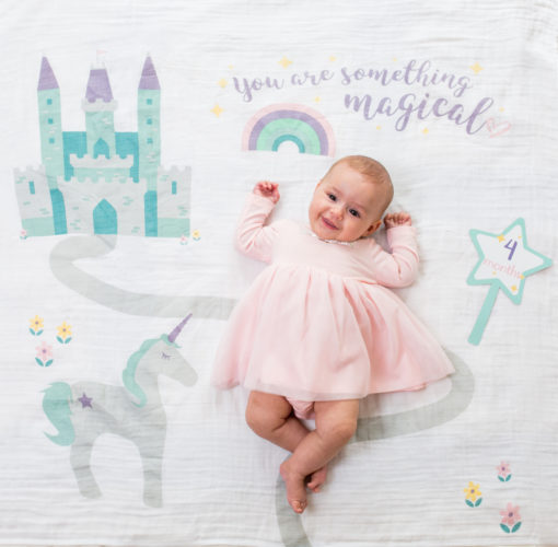 """LJ590 Lulujo """"Something Magical"""" Baby's First Year Blanket & Cards Set"""