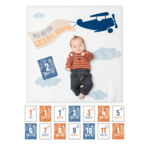 "LJ591 Lulujo ""Greatest Adventure"" Baby's First Year Blanket & Cards Set"