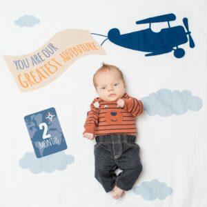 "LJ591 Lulujo ""Greatest Adventure"" Baby's First Year Blanket & Cards Set"