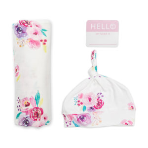 LJ640 Lulujo Hello World Hat & Swaddle Set – Posies