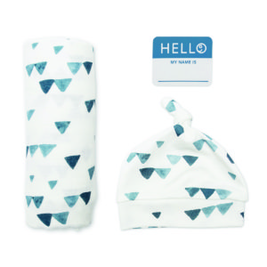 LJ641 Lulujo Hello World Hat & Swaddle Set - Navy Triangles