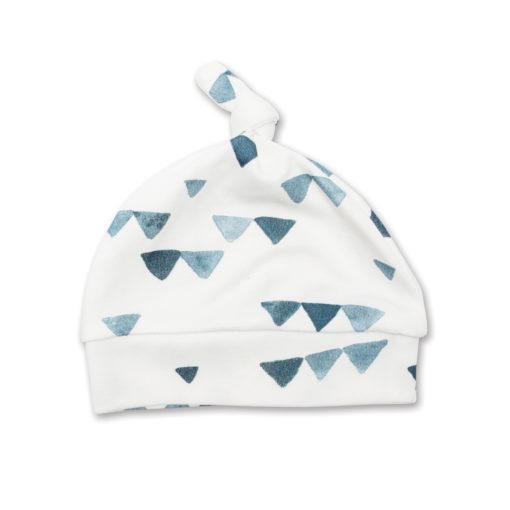 LJ641 Lulujo Hello World Hat & Swaddle Set - Navy Triangles