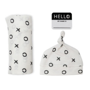 LJ642 Lulujo Hello World Hat & Swaddle Set - Hugs & Kisses