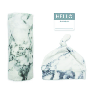 LJ643 Lulujo Hello World Hat & Swaddle Set - Marble