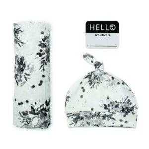 LJ645 Lulujo Hello World Hat & Swaddle Set - Black Floral
