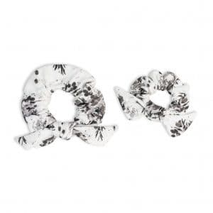 LJ261 Lulujo Mommy + Me Black Floral Hair Elastics
