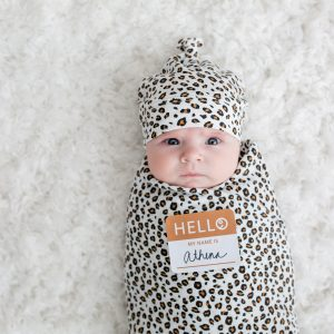 LJ646 Lulujo Hello World Hat & Swaddle Set - Leopard