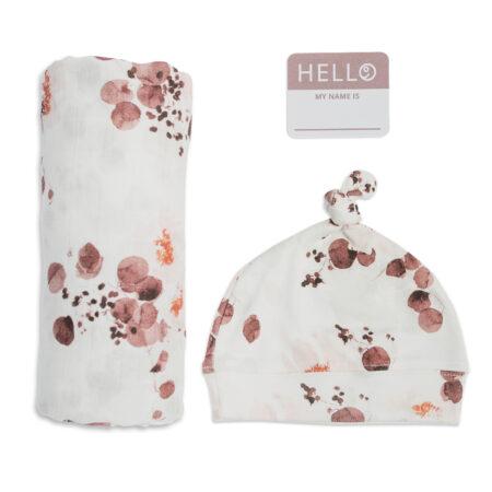 LJ651 Lulujo Hello World Hat & Swaddle Set – Eucalyptus
