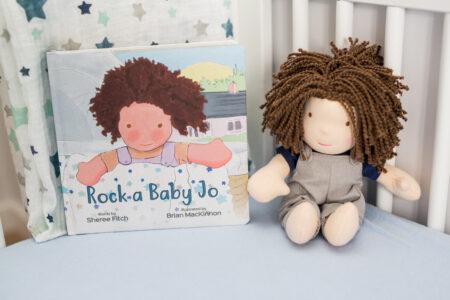 LJ811 Lulujo Rock a Baby Jo Book and Blanket Gift Set