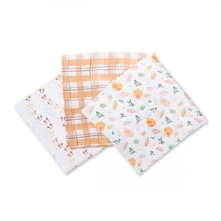 LJ450 Lulujo Beige Birds Cotton Muslin Swaddles