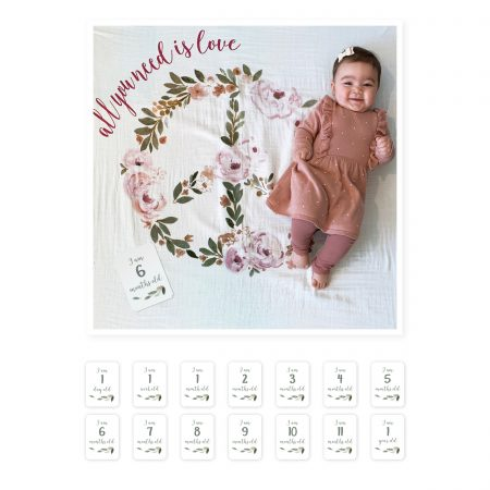 """LJ593 Lulujo """"All You Need Is Love"""" Baby's First Year Blanket & Cards Set"""