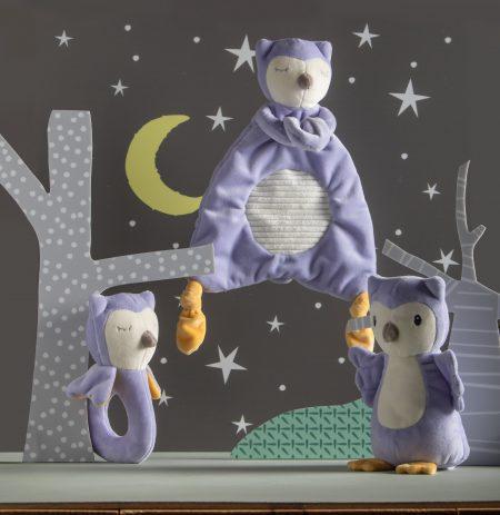 Leika Owl Lovey Rattle Soft Toy