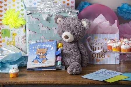 grey putty bear, taggies teddy book