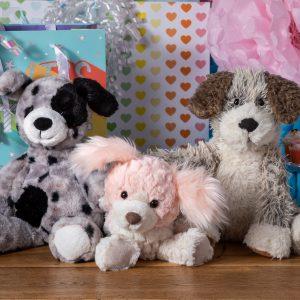 marshmallow asher pup, putty paris pup, fabfuzz scruffy pup