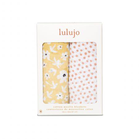LJ155 Lulujo Cotton Swaddles - Wildflower & Dots