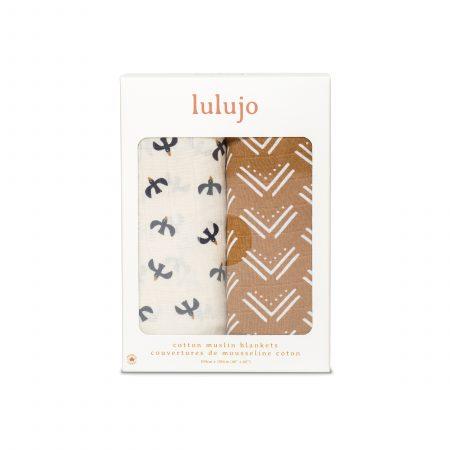 LJ159 Lulujo Cotton Swaddles - Mudcloth & Black Birds